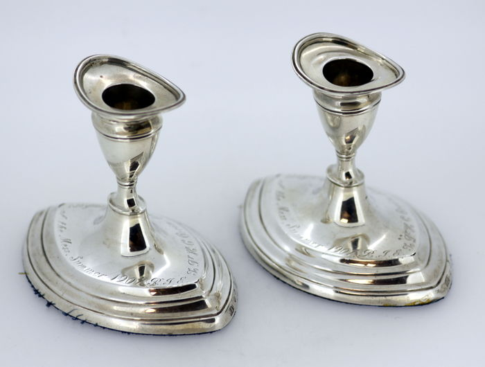 Pair of filled silver candlesticks with initials - Hamilton & Inches - Edinburgh - 1908