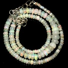 Ethiopian Opal beads necklace from 3 to 7.8 mm