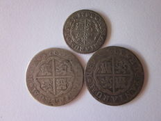 Spain, Bourbons. 3 silver coins, 1748, 1760 and 1766, Madrid