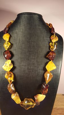 100% natural Baltic amber necklace multi color