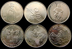 Portugal - 6 silver 1000 Escudos coins: 1996, 1997, 1998(3), 1999 –All different