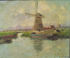 "Unknown - ""Zicht op molen in landschap"" (View of a mill in a landscape)"