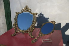 Mirror, model Poppy and hand mirror with cherubs in Louis XV style - France - ca. 1900