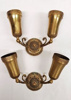 Two pairs of brass wall lights