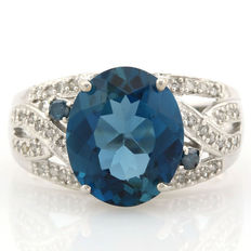 14kt Gold Ring Blue Topaz and diamonds 0,24ct total - 7.5 (US)
