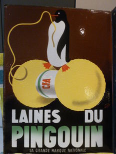 "Beautiful and rare enamelled plate ""laines du pingouin"" ENAMEL Ed.JEAN"