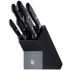 WMF knife set with wood knife block - black - 7-pieces - Classic Line