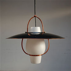 Unknown designer - pendant lamp in brass and black varnished metal with opaline lamp shade