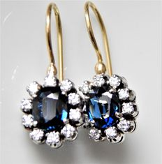 Sapphire earrings with brilliants, no reserve price