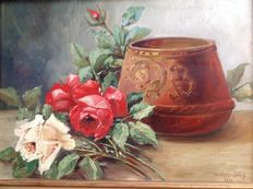 Ch. Wetterwald (early 20th century) - pot and roses