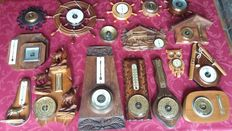 Collection of 19 decorative barometers/thermometers