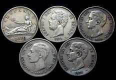 Spain. 5 pesetas 1870-77. Provisional Government, Amadeo I and Alfonso XII (5 coins), silver