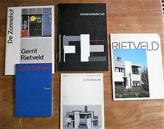 Gerrit Rietveld - Lot with 5 books on architecture and design - 1971 / 1979