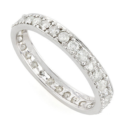 14 kt white gold wedding band with diamonds 1,03ct  - size 7 US  ***No reserve price***