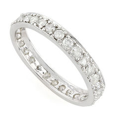 14 kt white gold wedding band with diamonds 1,03ct - No reserve price