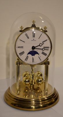 Junghans clock with bell jar and moon phase indicator - Late 20th century