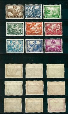 Germany 1933: Wagner Issue - Michel 499A-505A / Sc. B49-B57