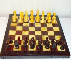 Beautiful Amber chess pieces and board