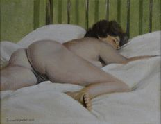 Percival A Bates. (20th century). - A naked woman laying on a bed