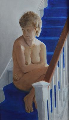 Percival A Bates. (20th century).- A naked woman on the stairs.