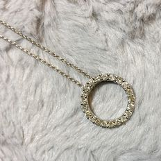 White gold chain with diamonds pendant, 0.88ct total