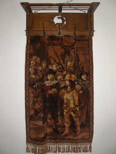 Old oak coat rack with tapestry, gobelin depicting the Nightwatch