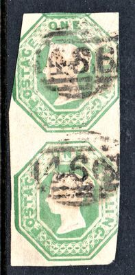 Great Britain Queen Victoria 1854 - 1 Shilling Green Embossed Pair
