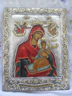 Mother of God icon - Silver Tradition Art Byzantin - 950 degrees - see certificate - Greece