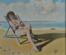 Percival A Bates. (20th century).- A naked sunbather in a deckchair at the beach.