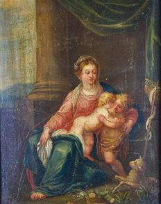 Unknown. (18th century).- Baby Jesus and Mary meet John The Baptist.