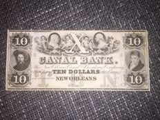 USA - Obsolete Currency - Canal Bank of New Orleans 10 dollars 18xx - remainder