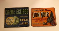Eclipse cream wax and Black Lion cream wax antique advertising lithographic sheets