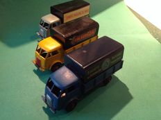 "Dinky Toys-France - Scale 1/48 - Lot of 3 x Ford covered trucks ""SNCF"" No.25jb, ""Calberson"" No.25jj and ""Grands Moulins de Paris"" No.25jv"