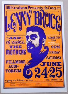 Dance Concert Frank Zappa/ Mothers of Invention/ Lenny Bruce 1966 Poster Wes Wilson San Francisco USA