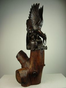Large coromandel wood sculpture group of birds - Bali - Indonesia