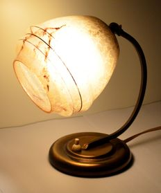 Art Deco table/wall light with marbled flame-coloured in the form blown glass shade