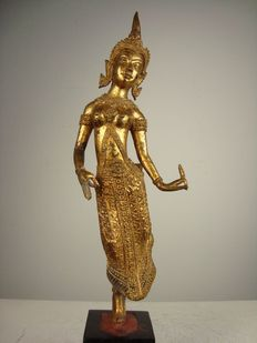 Gold plated bronze statue of an Apsara - Thailand - 2nd Part of the 20th century