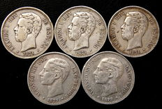 Spain. 5 pesetas 1871-78. Amadeo I and Alfonso XII (5 coins), silver