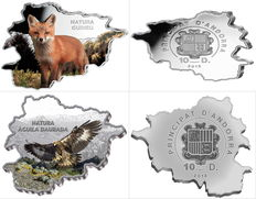 Andorra - 2 x 10 Diners - Fox 2013 & Golden Eagle in colour - PP - 2 pieces each 1 oz with box & certificate - Edition of 3000 pieces.