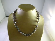 Grey pearl necklace.
