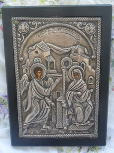 Greek icon silver 950 degrees – (see photos certificate) evangelism or Theo Koy