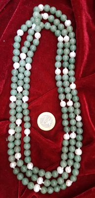XL necklace composed of green aventurine and freshwater cultured pearls - Pearl earrings with silver