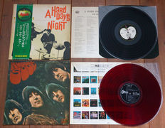 The Beatles- lot of 2 rare Japanese pressings: Rubber Soul (1st pressing from 1966 on RED wax!)/ A Hard Day's Night (The Beatles Forever Series, 1974, complete with OBI, insert + black inner!)