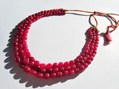 Ruby necklace - approx. 630 ct