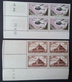 France 1929-31 and 1957-59 – 5 f. Mont Saint-Michel and 1000 f. Alouette, Blocks of 4, dated in corner – Yvert n° 260 and PA 37