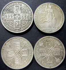 United Kingdom - Florin (2 Shillings) 1879, 1904, 1931 and 1935 (4 coins) - silver