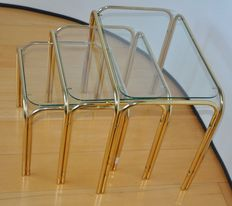 Designer unknown-gold-coloured chrome Mimiset/Nesting tables