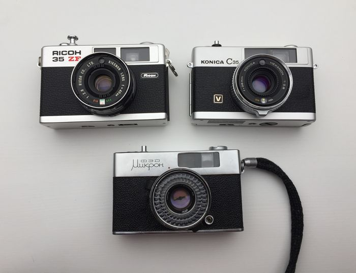 Konica C35V, Ricoh 35ZF and FED Micron - advanced compact cameras (1960-70's)