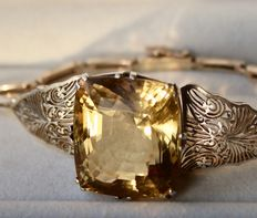 circa 1920 - Filigree bracelet with extra large natural Golden Topaz, ca. 40 ct in excellent condition.