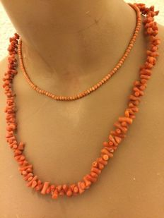 Two antique precious coral branched necklaces with Tombak clasp